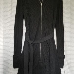 Black Zip up Hi-Lo Sweater